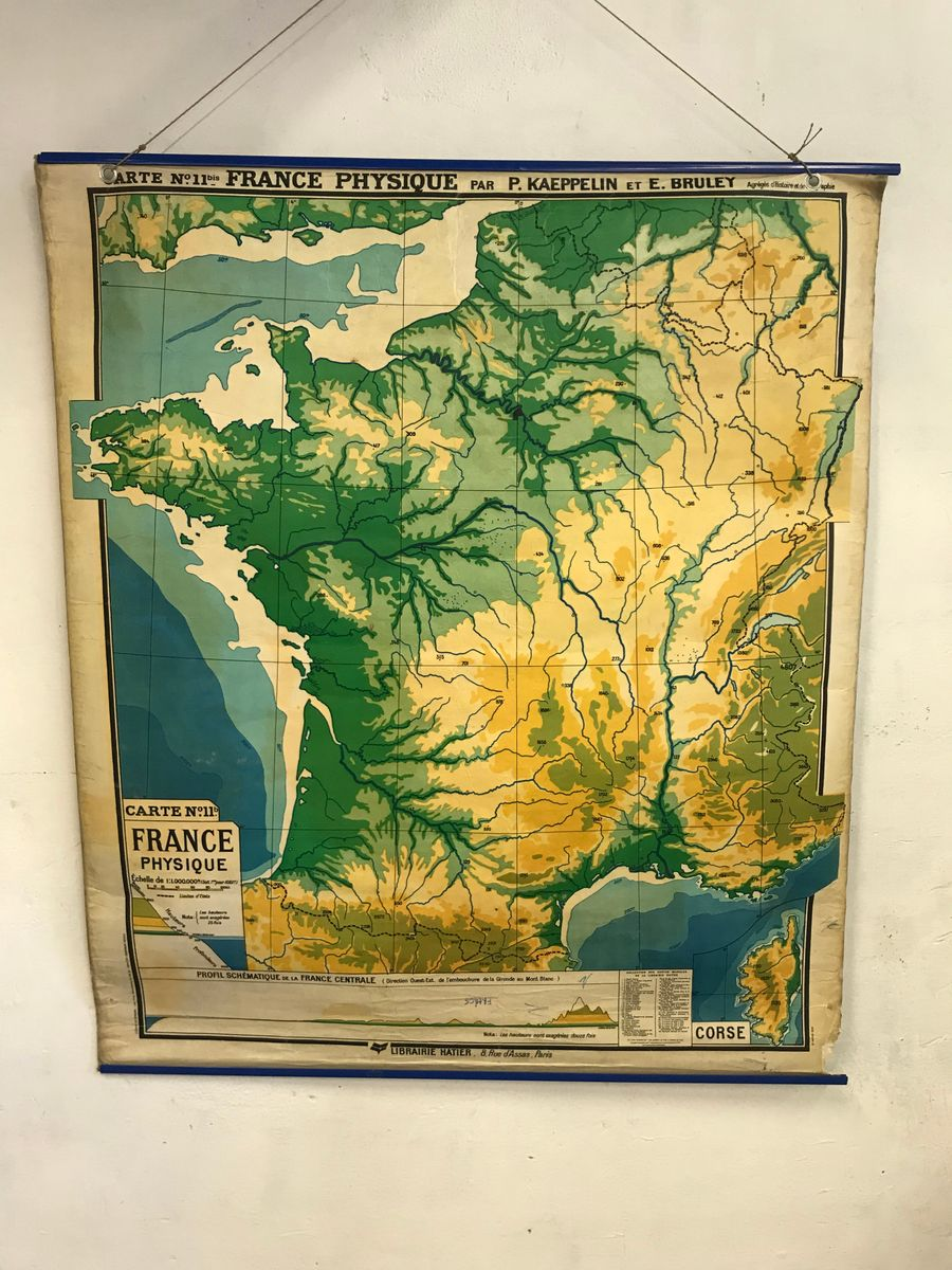 Vintage French Geographical Wall Chart from P. Kaeppelin & E. Bruley ...