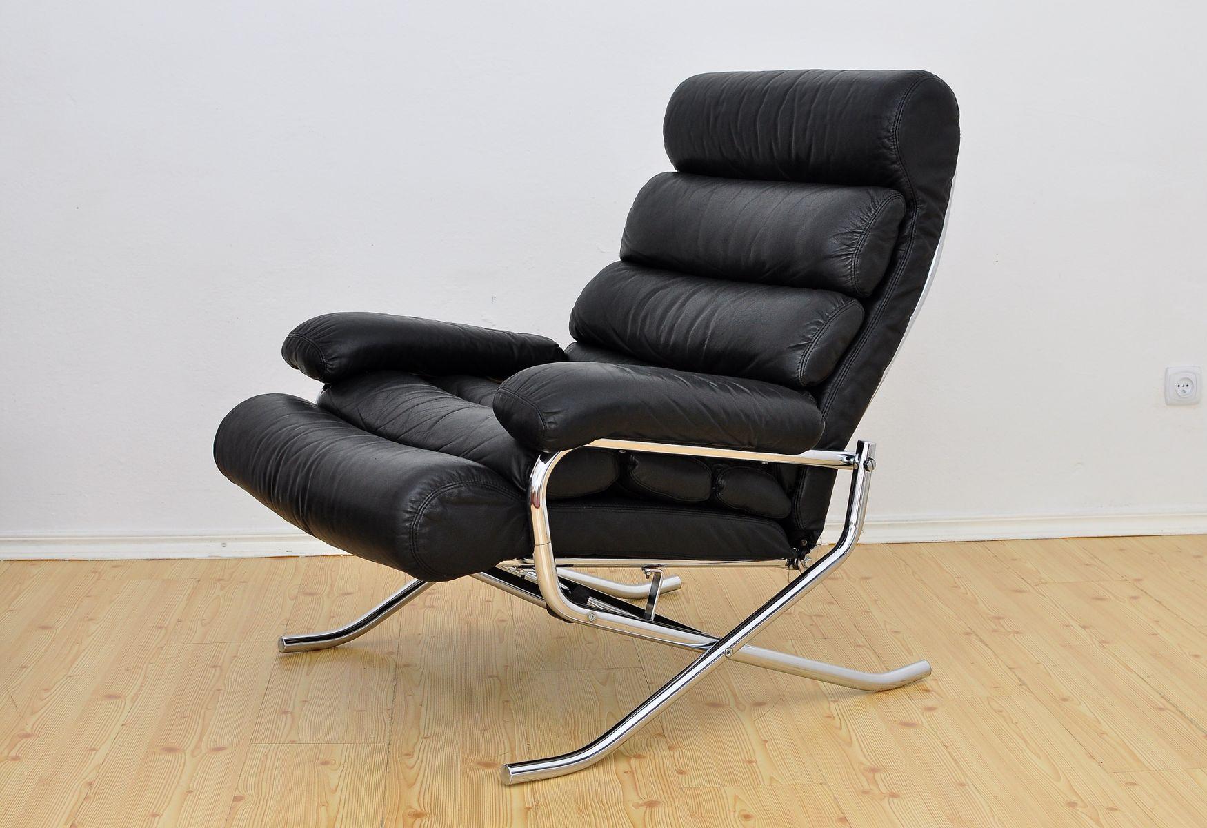 leder lehnsessel mit ottomane 1970er bei pamono kaufen. Black Bedroom Furniture Sets. Home Design Ideas