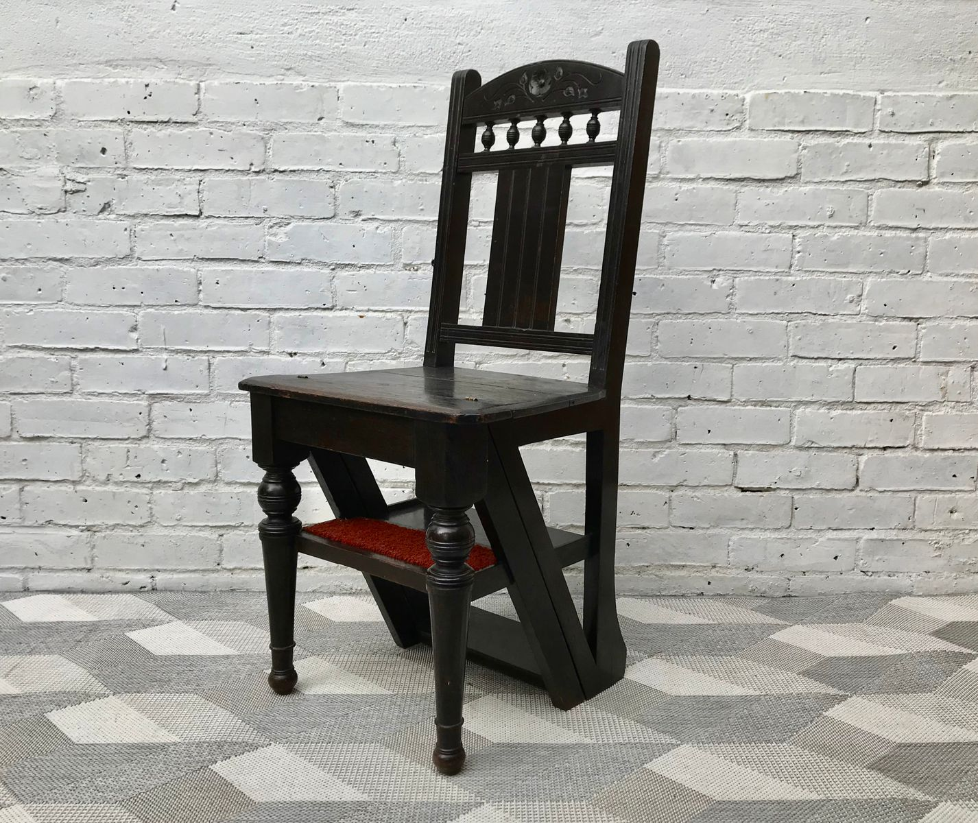 Antique Metamorphic Folding Library Ladder Chair