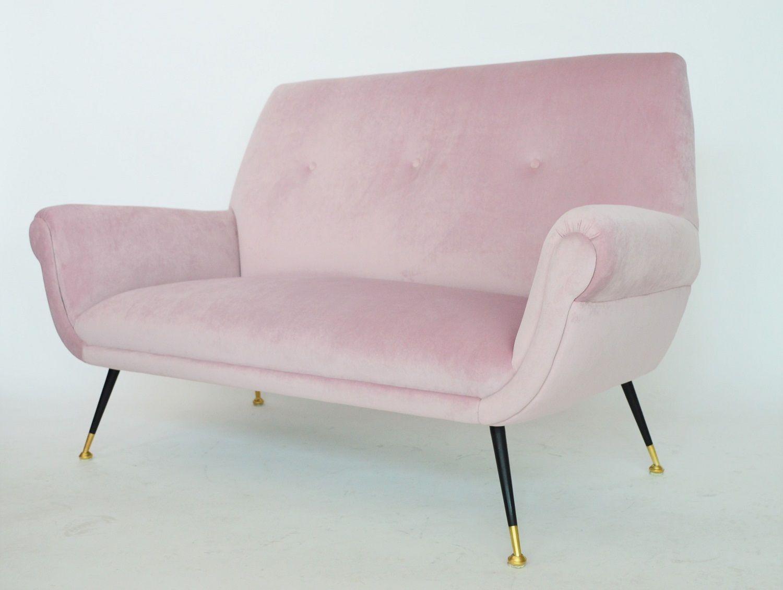Mid Century Italian Velvet Sofa By Gigi Radice For Minotti