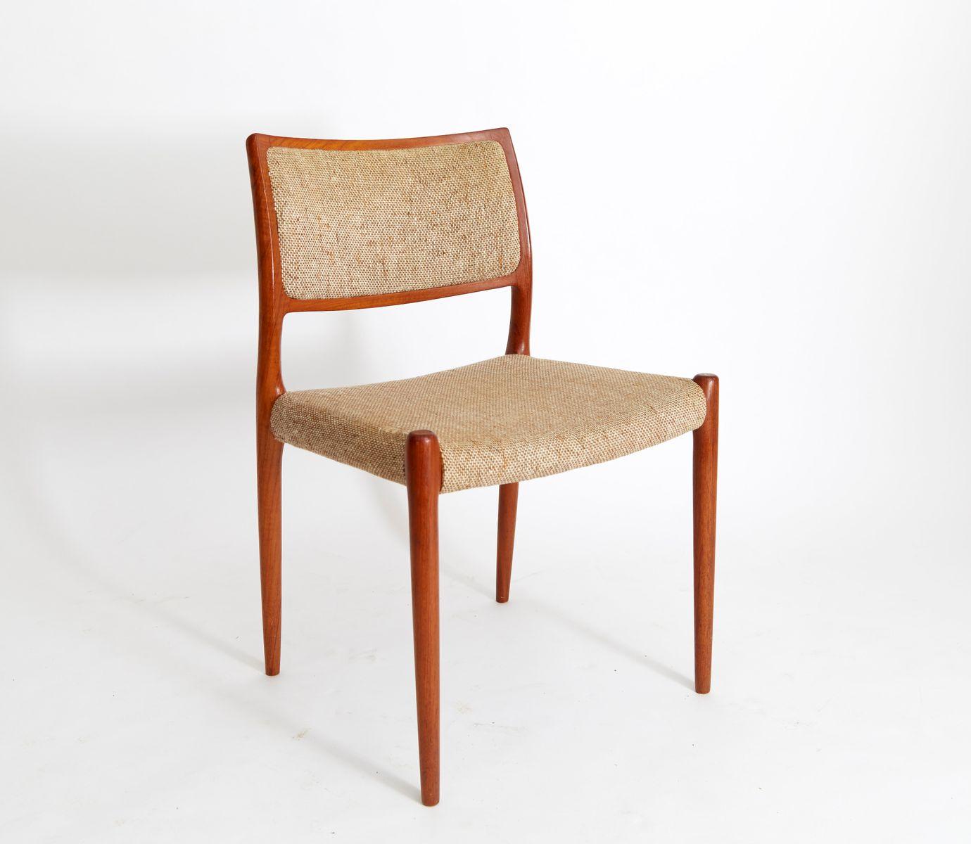 Vintage danish teak dining chairs by niels otto møller