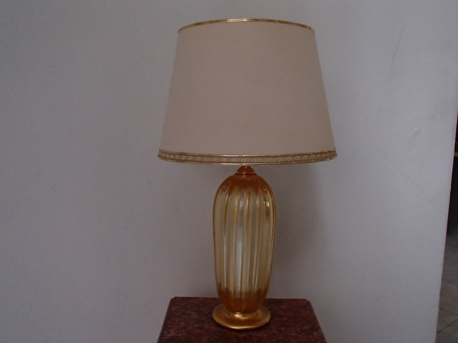Large Golden Table Lamps In Murano Glass, 1960S, Set Of