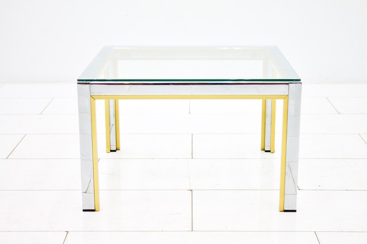 glass side table. Chrome, Brass, \u0026 Glass Side Table By Renato Zevi For Romeo Rega, 1970s