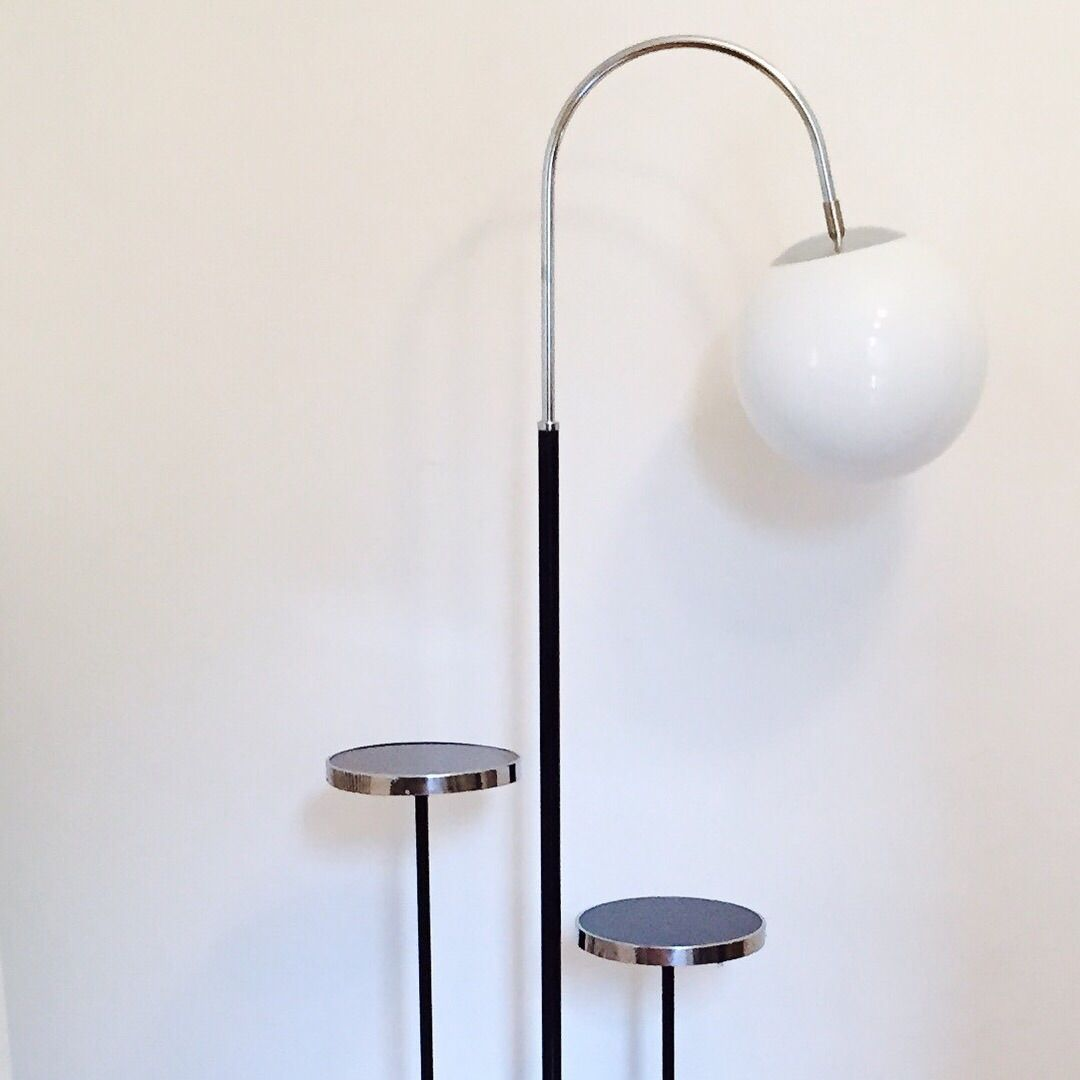 vintage bauhaus stehlampe mit 2 kleinen tischen von. Black Bedroom Furniture Sets. Home Design Ideas