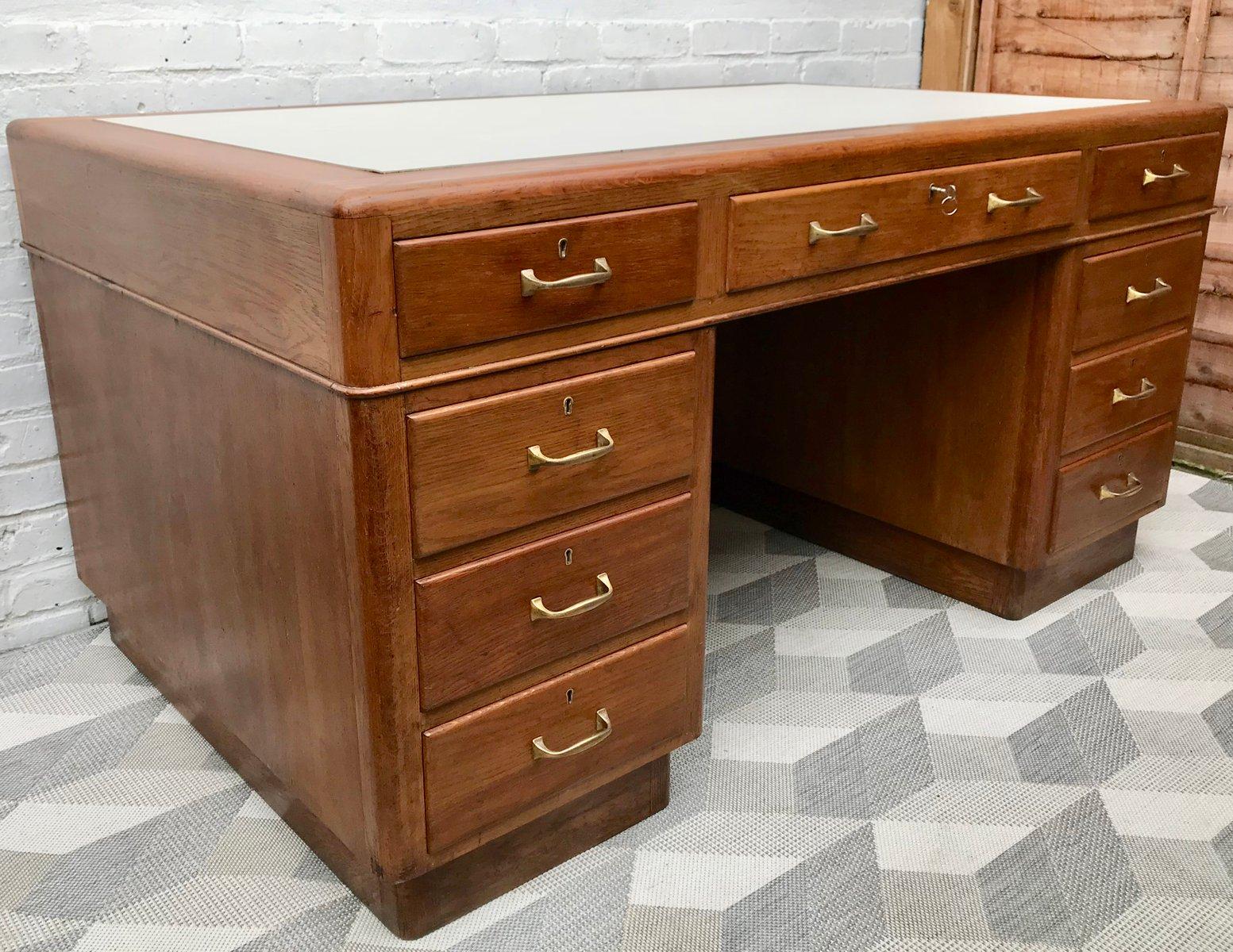 gro er mid century schreibtisch mit schubladen bei pamono kaufen. Black Bedroom Furniture Sets. Home Design Ideas