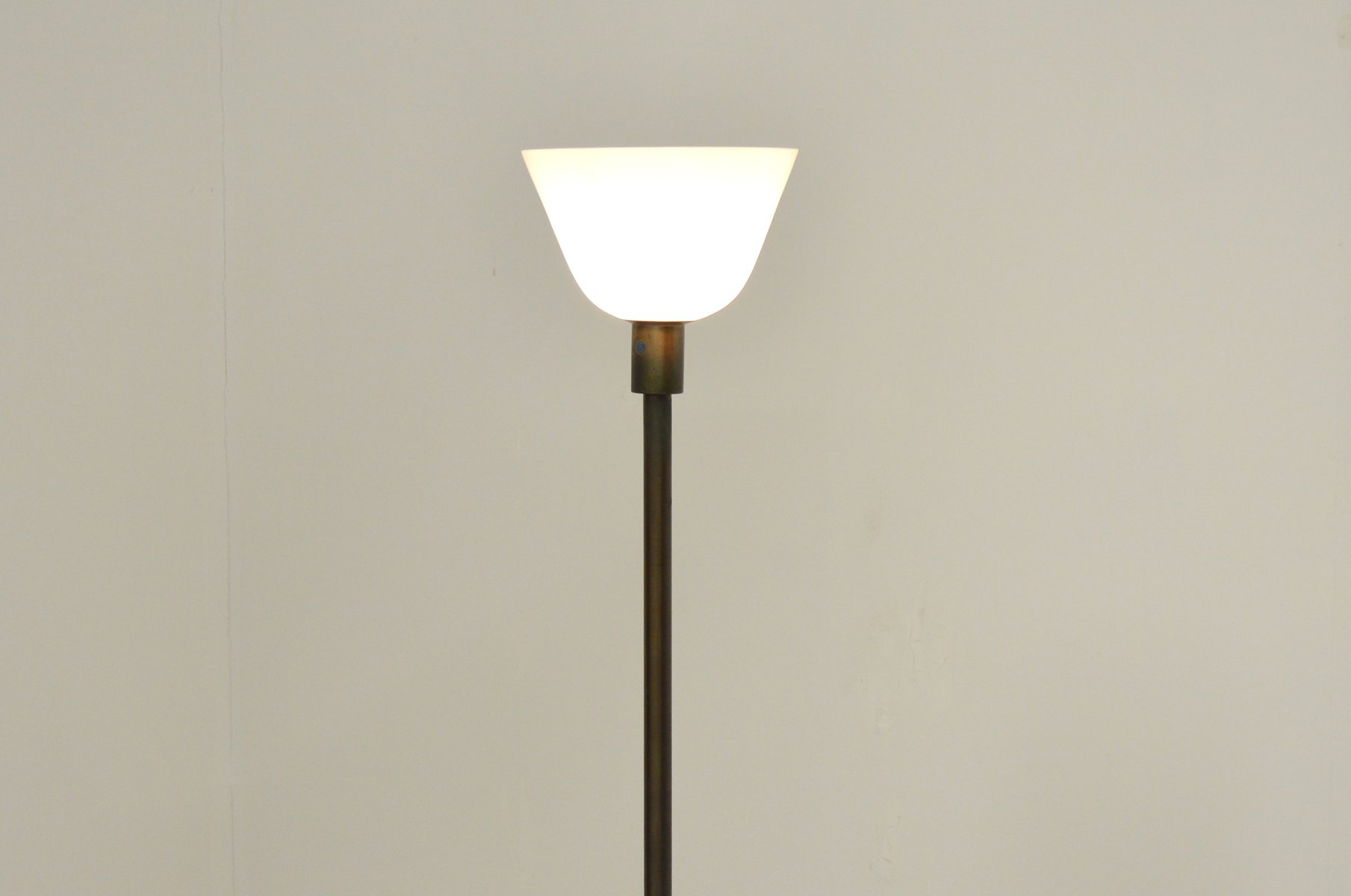 Brass glass uplight floor lamp 1940s for sale at pamono brass glass uplight floor lamp 1940s tyukafo