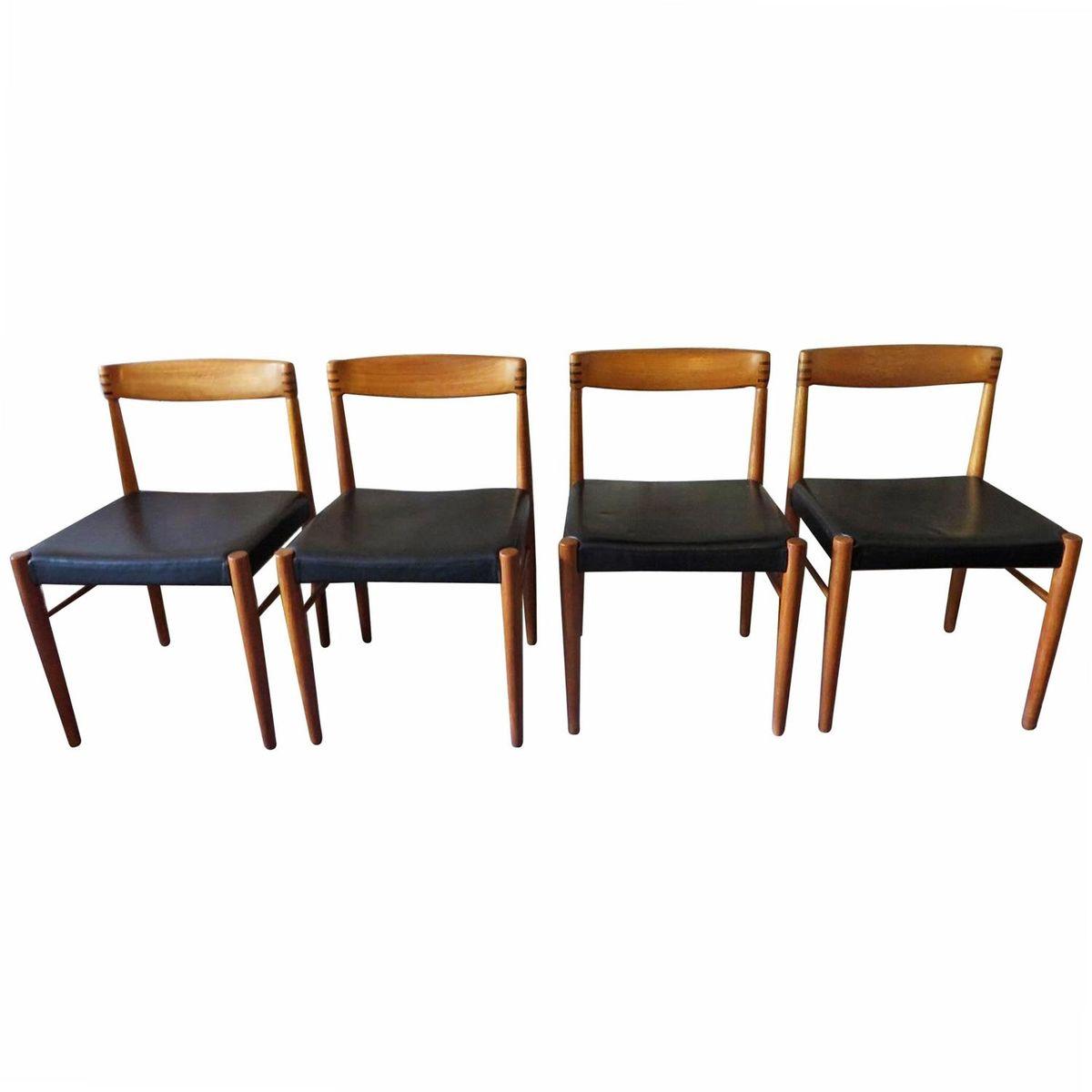 esszimmerst hle aus teakholz und leder von henry w klein f r bramin 1960er 4er set bei pamono. Black Bedroom Furniture Sets. Home Design Ideas