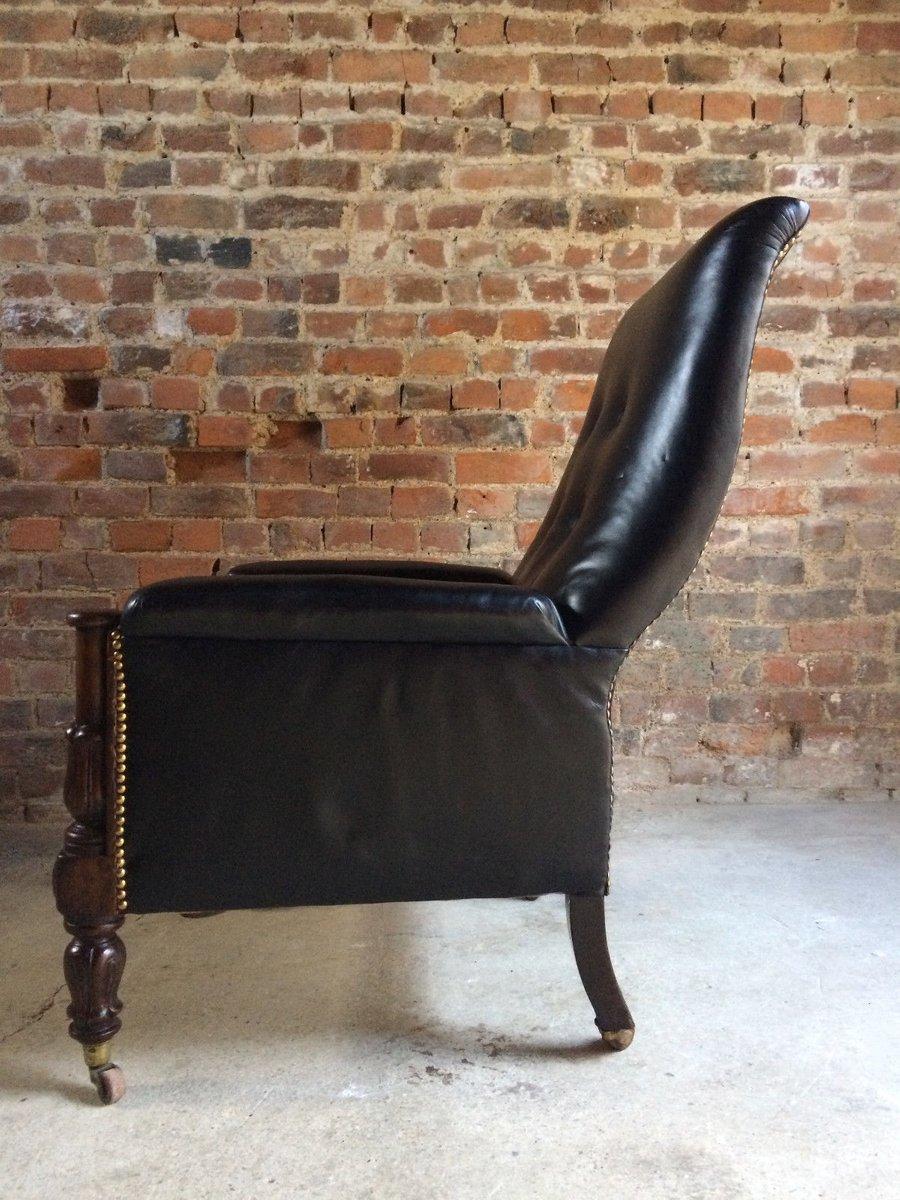 Antique William IV Leather Mahogany Lounge Chair, 1830 for sale at Pamono - Antique William IV Leather Mahogany Lounge Chair, 1830 For Sale At