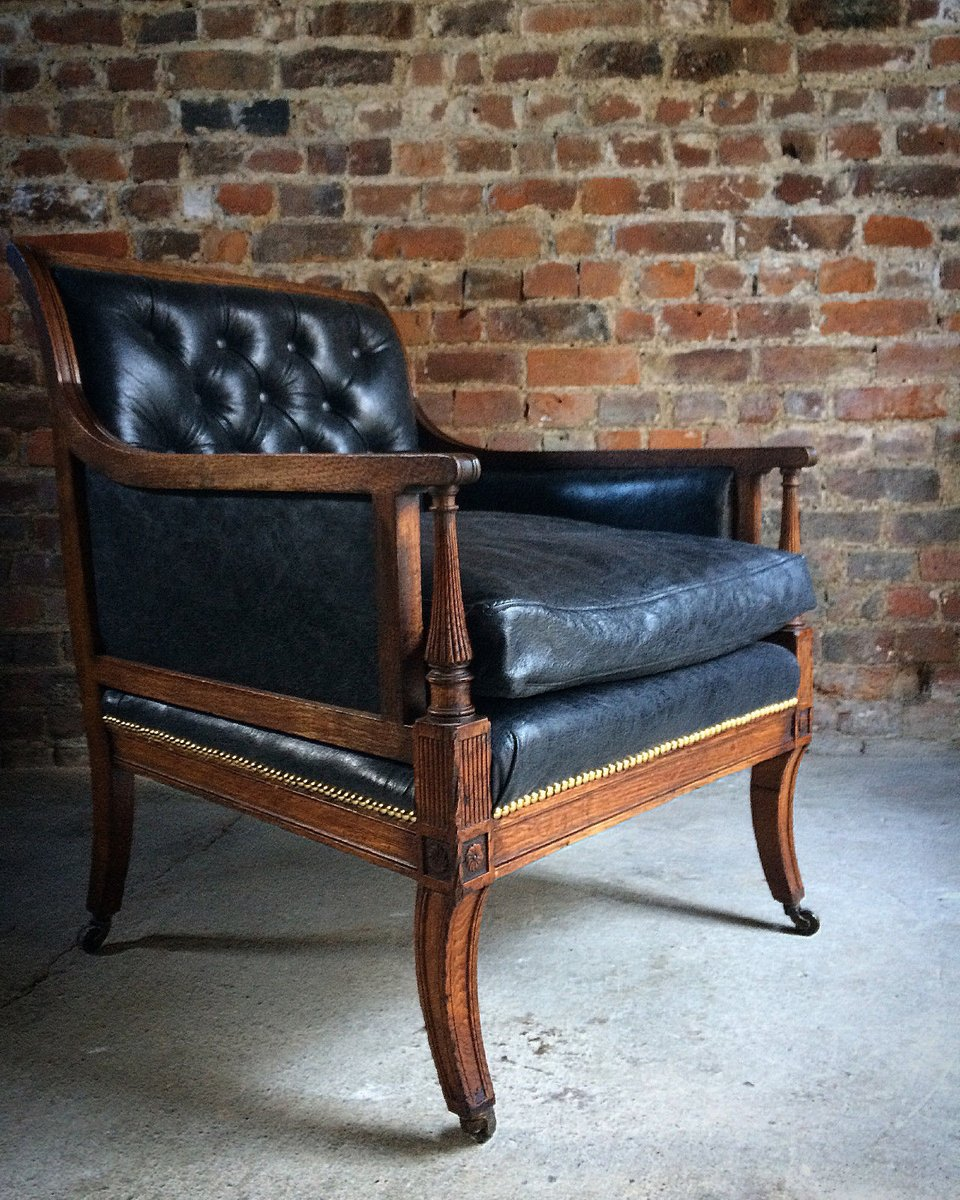 Antique Victorian Leather & Oak Library Chair, 1840s - Antique Victorian Leather & Oak Library Chair, 1840s For Sale At Pamono