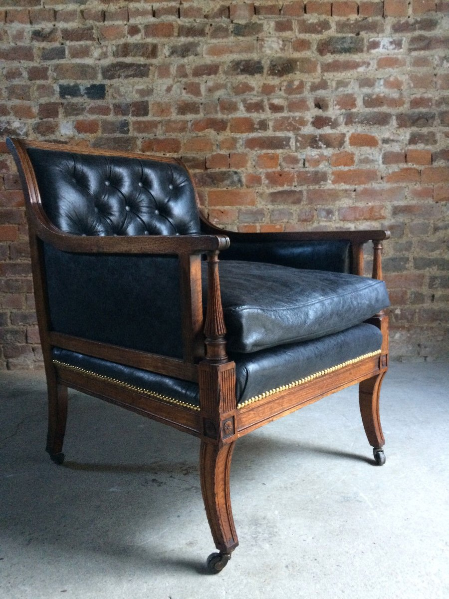 - Antique Victorian Leather & Oak Library Chair, 1840s For Sale At Pamono