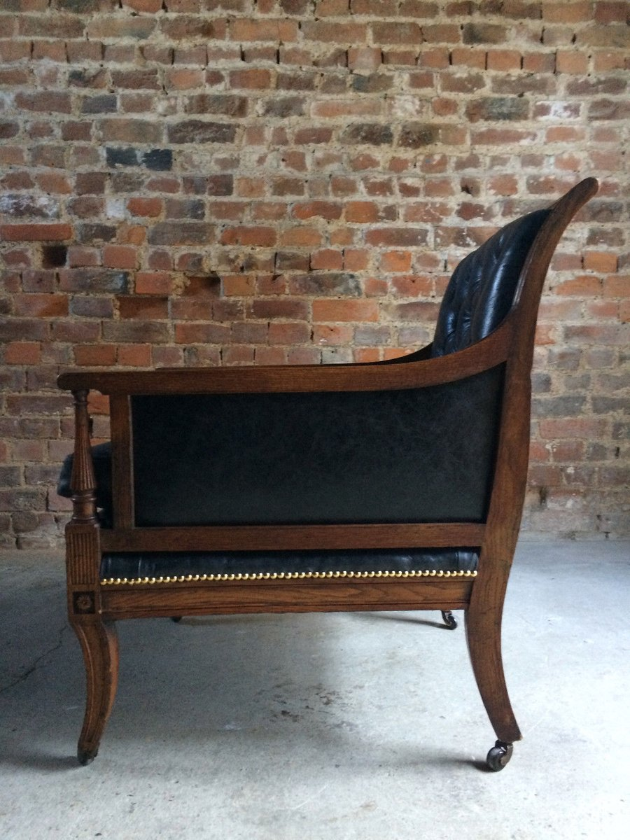 Antique Victorian Leather U0026 Oak Library Chair, 1840s