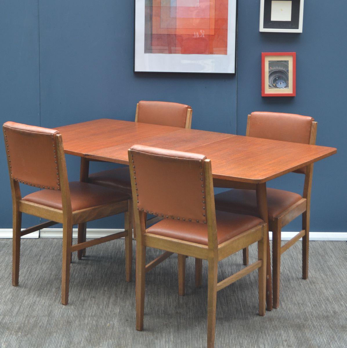 mid century tisch mit zwischenplatte und 4 st hle aus teakholz von gordon russell f r. Black Bedroom Furniture Sets. Home Design Ideas