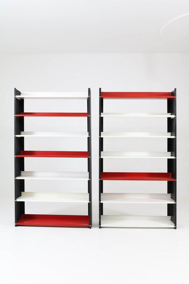 freistehendes mid century b cherregal aus metall in schwarz wei von pilastro 1960er 2er set. Black Bedroom Furniture Sets. Home Design Ideas