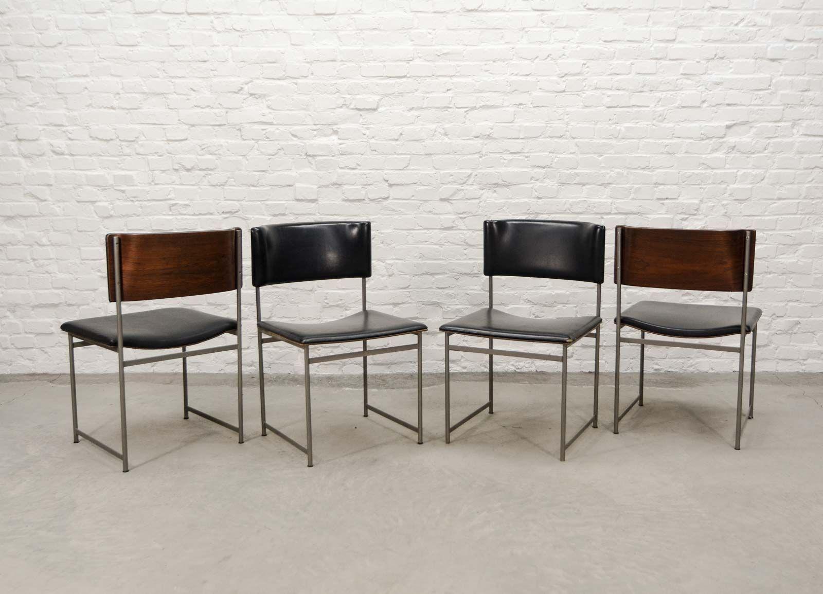 chaises de salon en palissandre et similicuir par cees braakman pour pastoe 1960s set de 4 en. Black Bedroom Furniture Sets. Home Design Ideas