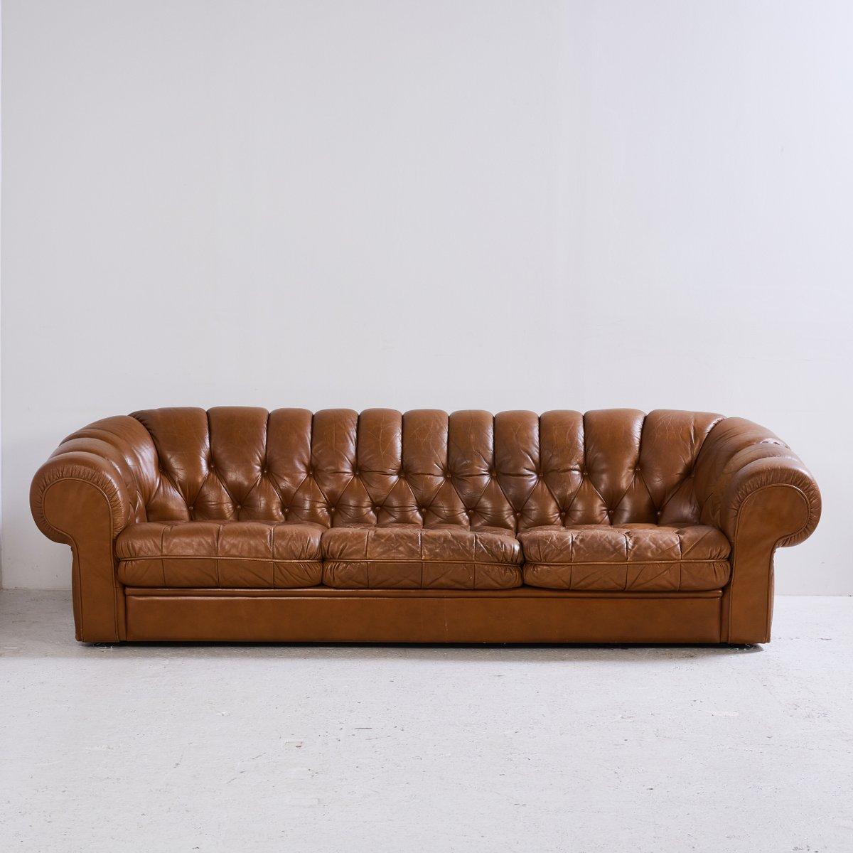 Chesterfield Sofa Set aus Leder, 1970er bei Pamono kaufen