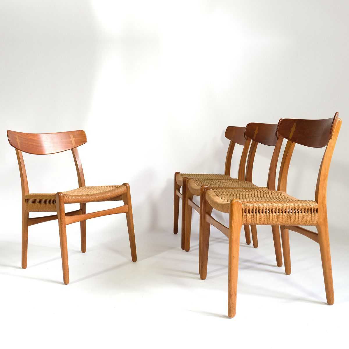 ch23 st hle von hans wegner f r carl hanson son 1950er 4er set bei pamono kaufen. Black Bedroom Furniture Sets. Home Design Ideas