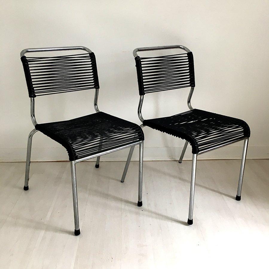 schwarze scoubidou st hle 1960er 2er set bei pamono kaufen. Black Bedroom Furniture Sets. Home Design Ideas