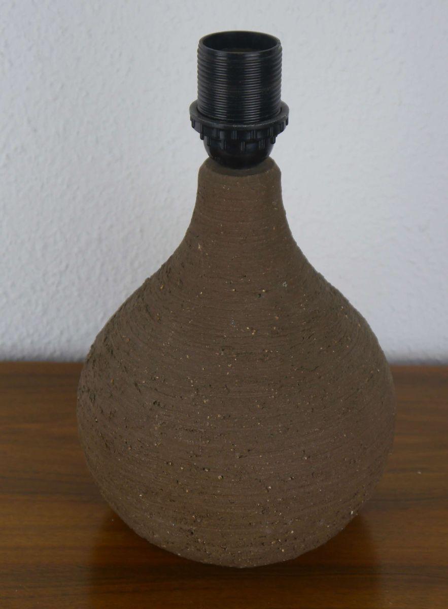 deutsche tischlampe aus rauem manganton mit holzfurnier schirm von l ffler zange f r. Black Bedroom Furniture Sets. Home Design Ideas