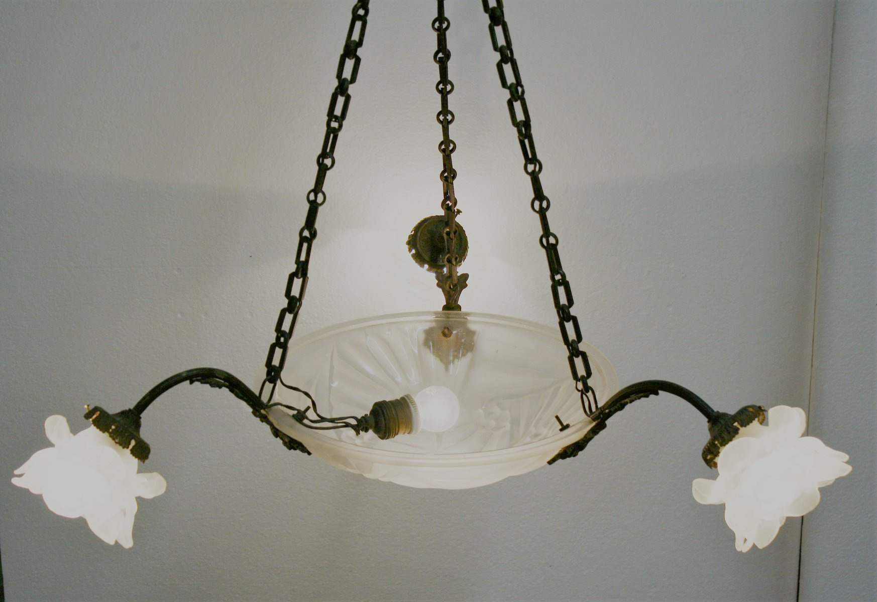 French art deco copper chandelier 1930s for sale at pamono aloadofball Gallery