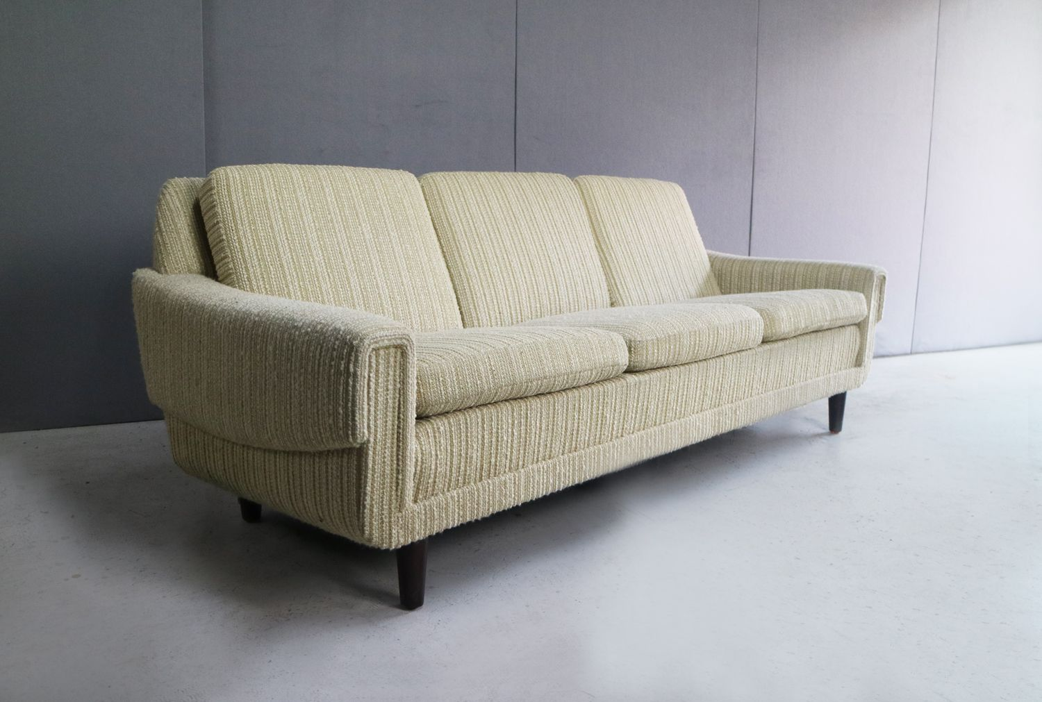 Danish 3 Seater Sofa In Oatmeal Fabric 1970s For Sale At
