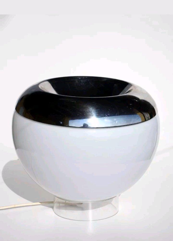 italienische tischlampe in kugelform aus glas und chrom 1960er bei pamono kaufen. Black Bedroom Furniture Sets. Home Design Ideas