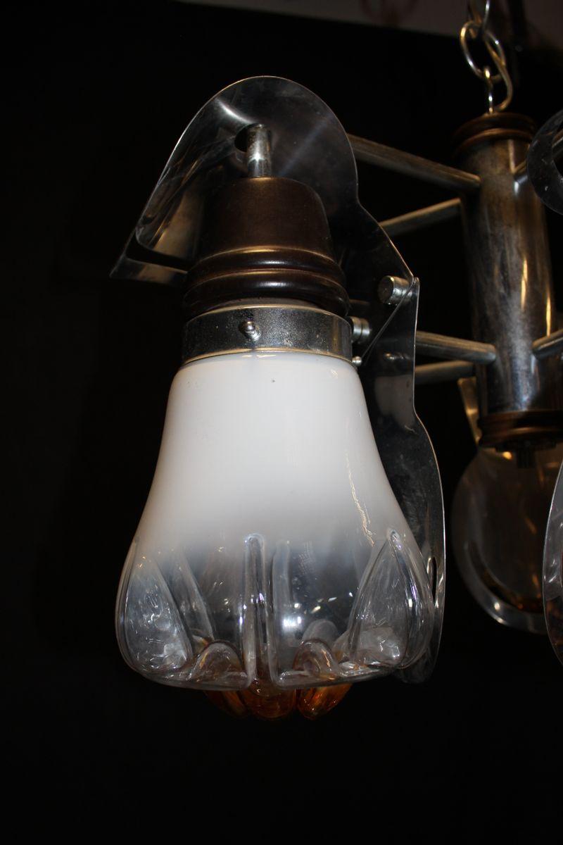 kronleuchter mit 5 leuchten aus verchromtem murano glas von mazzega 1970er bei pamono kaufen. Black Bedroom Furniture Sets. Home Design Ideas