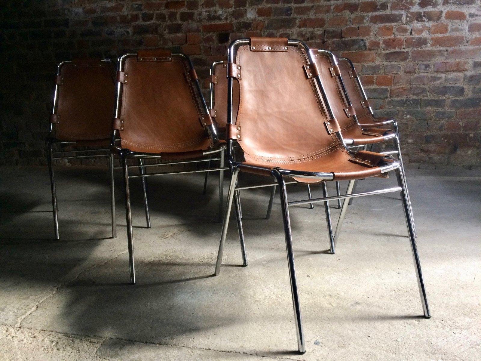 esszimmerst hle aus leder von charlotte perriand f r cassina 1960er 6er set bei pamono kaufen. Black Bedroom Furniture Sets. Home Design Ideas