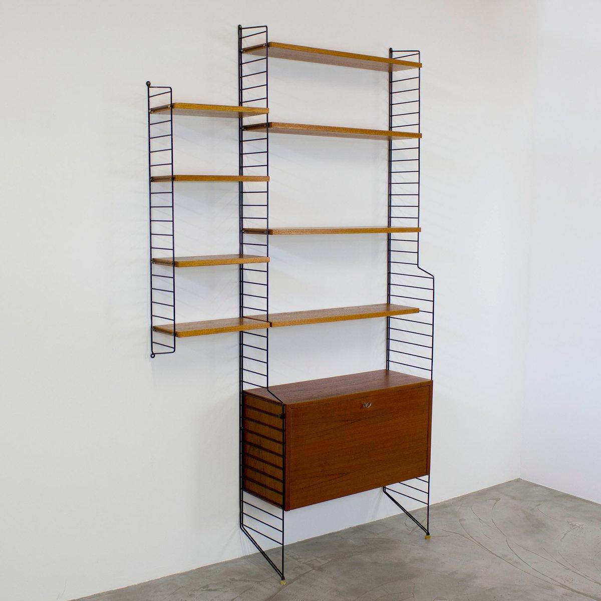 vintage teak wall unit by katja nisse strinning for string 1949 for sale at pamono. Black Bedroom Furniture Sets. Home Design Ideas