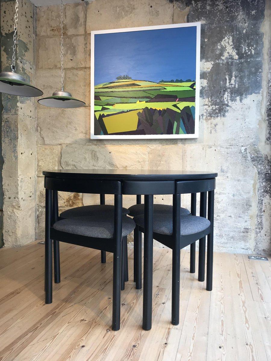 Mesa circular vintage en negro & 4 sillas de ABJ Denmark en venta en ...