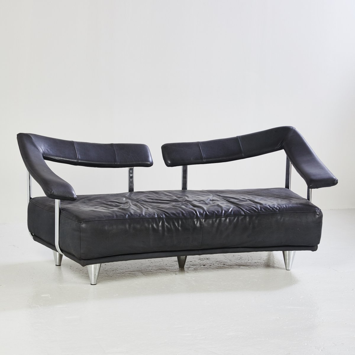 Black leather 3 seater sofa 1980s for sale at pamono for Leather sofa 7 seater
