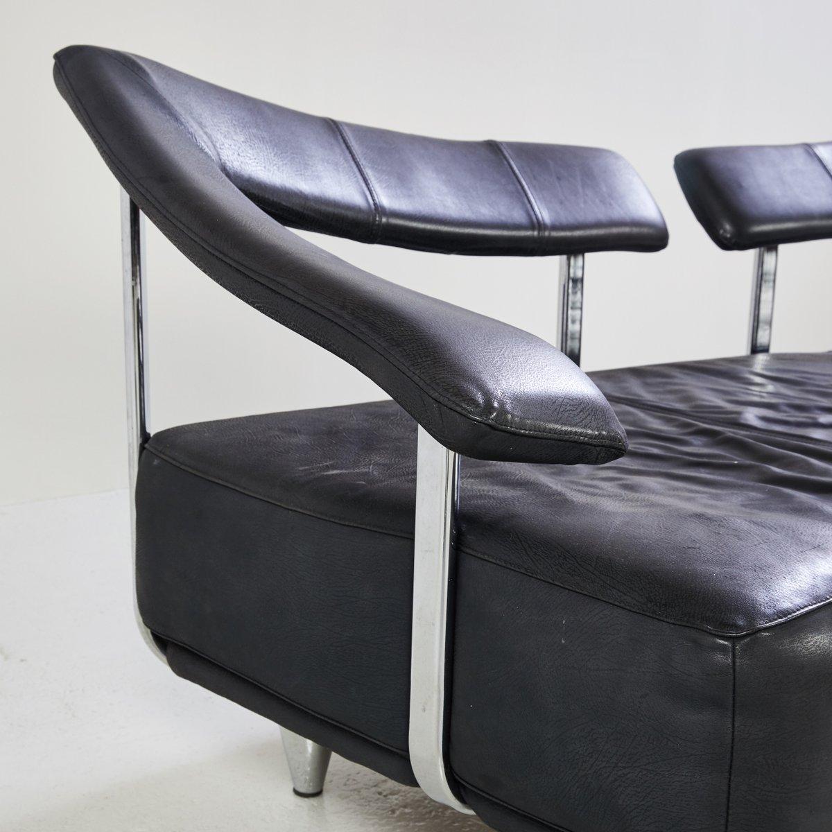 schwarzes 3 sitzer ledersofa 1980er bei pamono kaufen. Black Bedroom Furniture Sets. Home Design Ideas