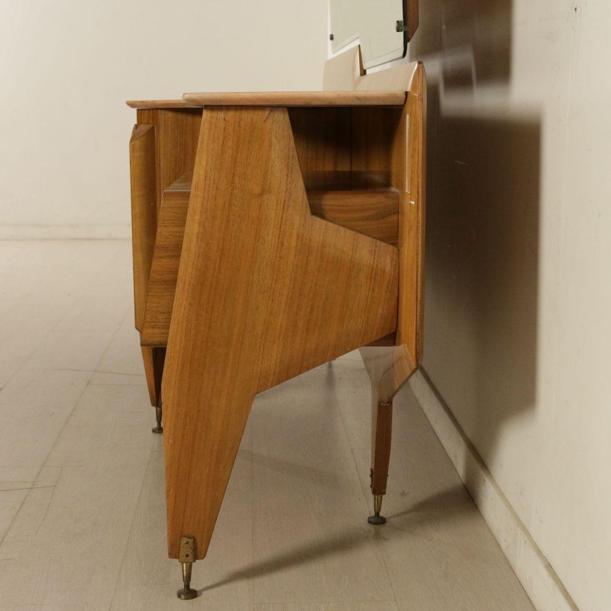 vintage kommode mit spiegel aus walnuss furnier und marmor bei pamono kaufen. Black Bedroom Furniture Sets. Home Design Ideas