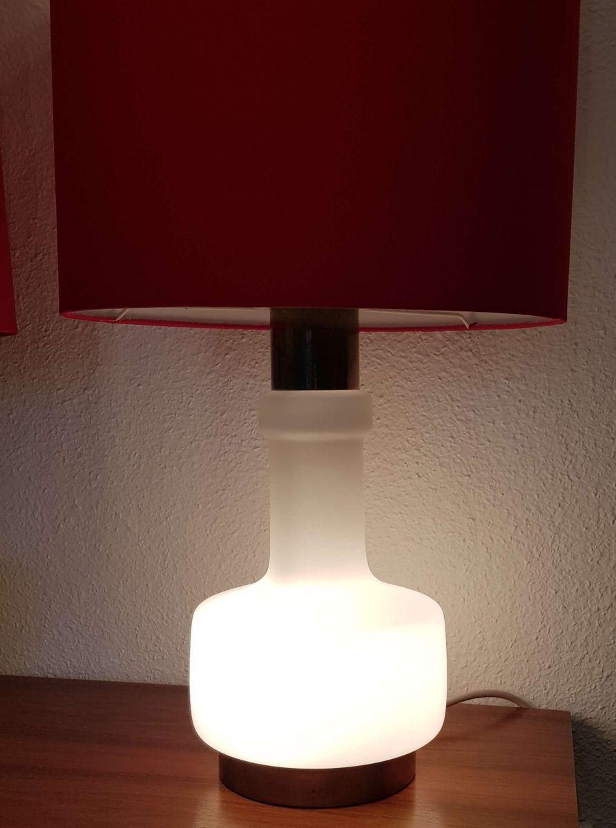 Milchglas lampen mit beleuchtetem gestell 1970er 2er set for Lampen niederlande