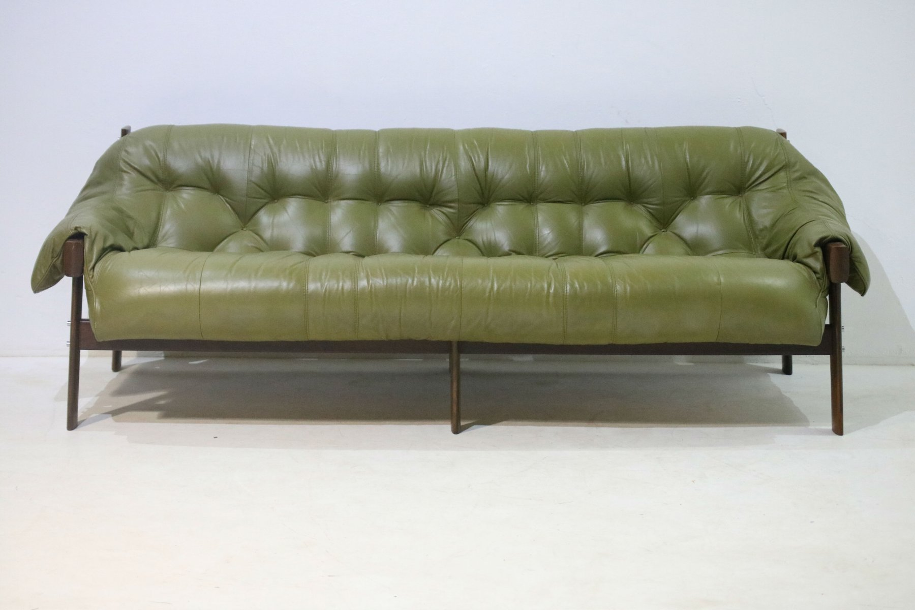Great Model MP 041 Green Leather Sofa From Percival Lafer, 1960s