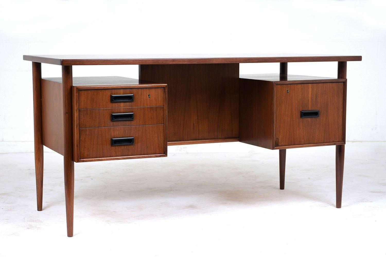 mid century modern teak schreibtisch bei pamono kaufen. Black Bedroom Furniture Sets. Home Design Ideas