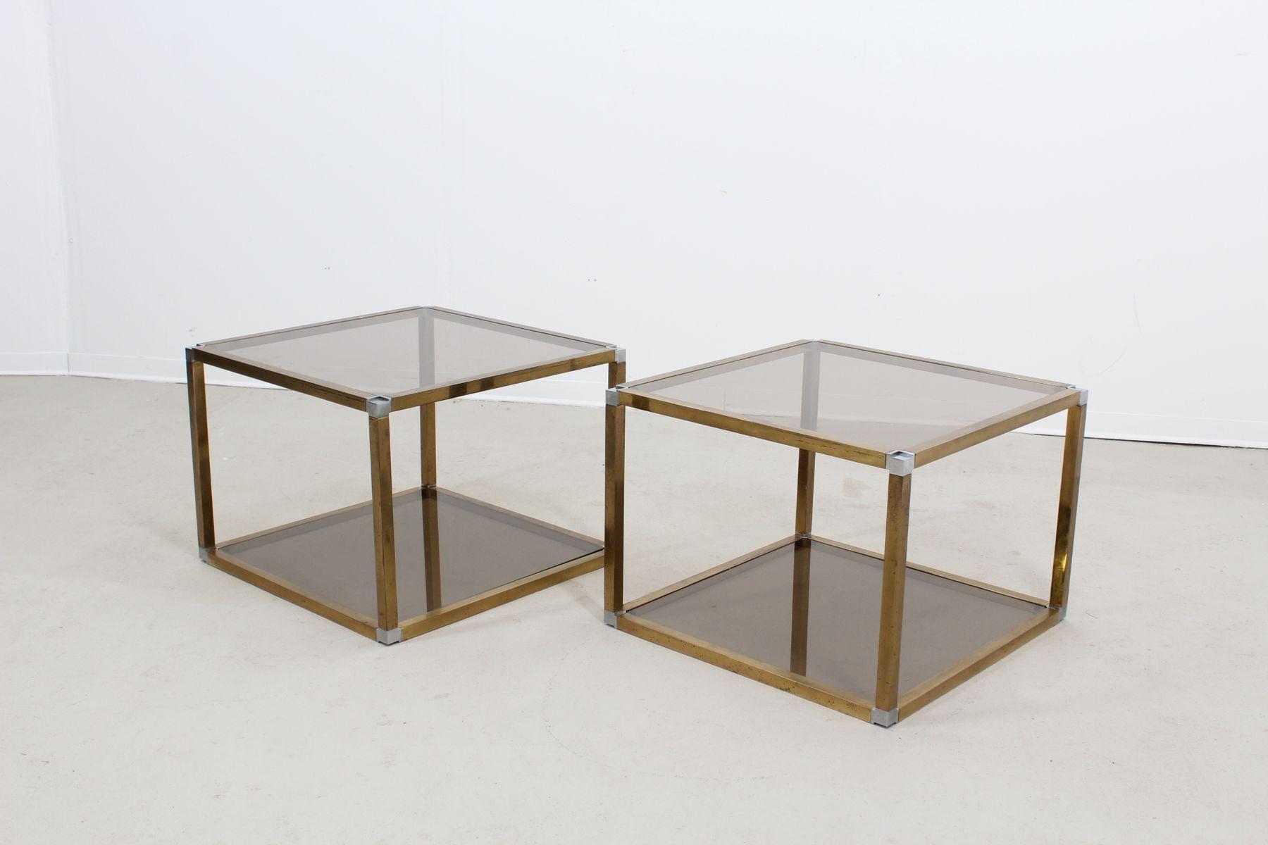 Tavolini da caff in ottone e vetro di romeo rega anni - Tavolini vetro e ottone ...