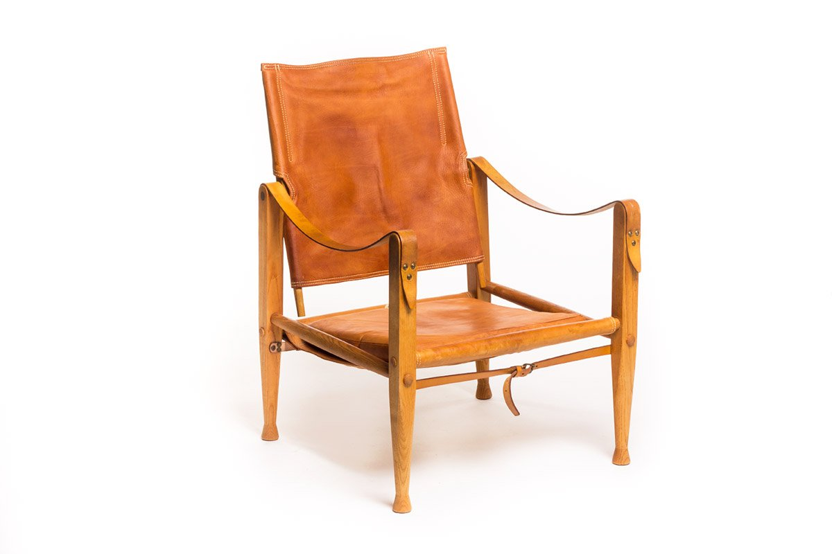Vintage Leather Safari Chair By Kaare Klint For Rud. Rasmussen