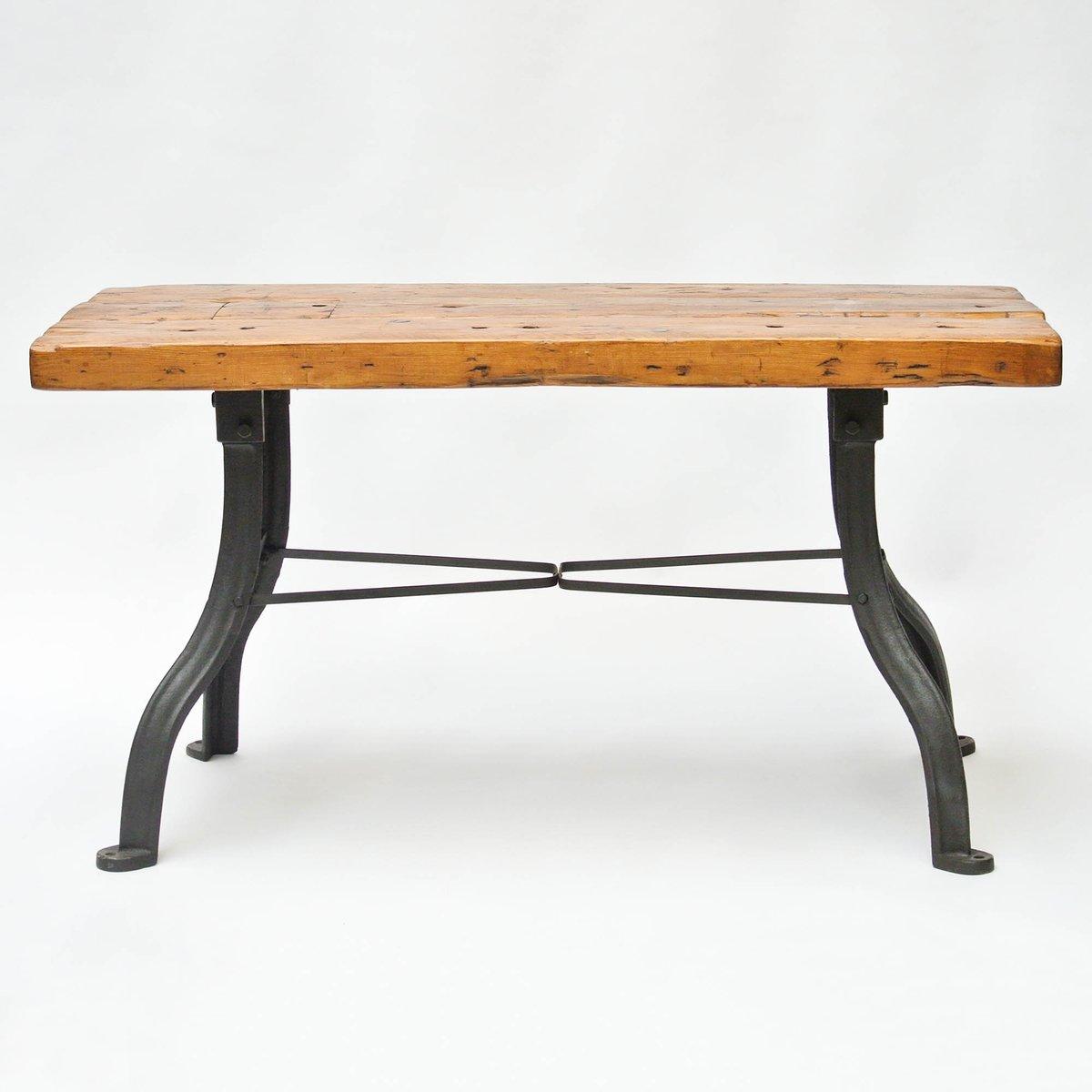Tavolo da lavoro vintage in legno e ferro battuto in vendita su Pamono