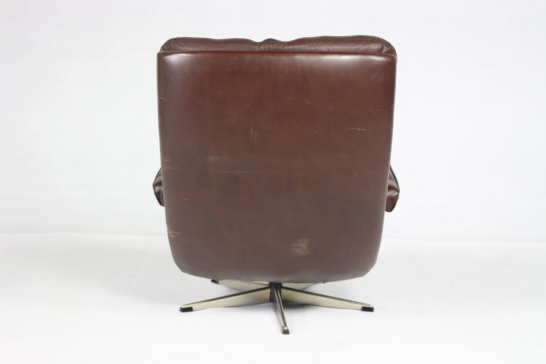 Mid Century Danish Leather Swivel Chair For Sale At Pamono