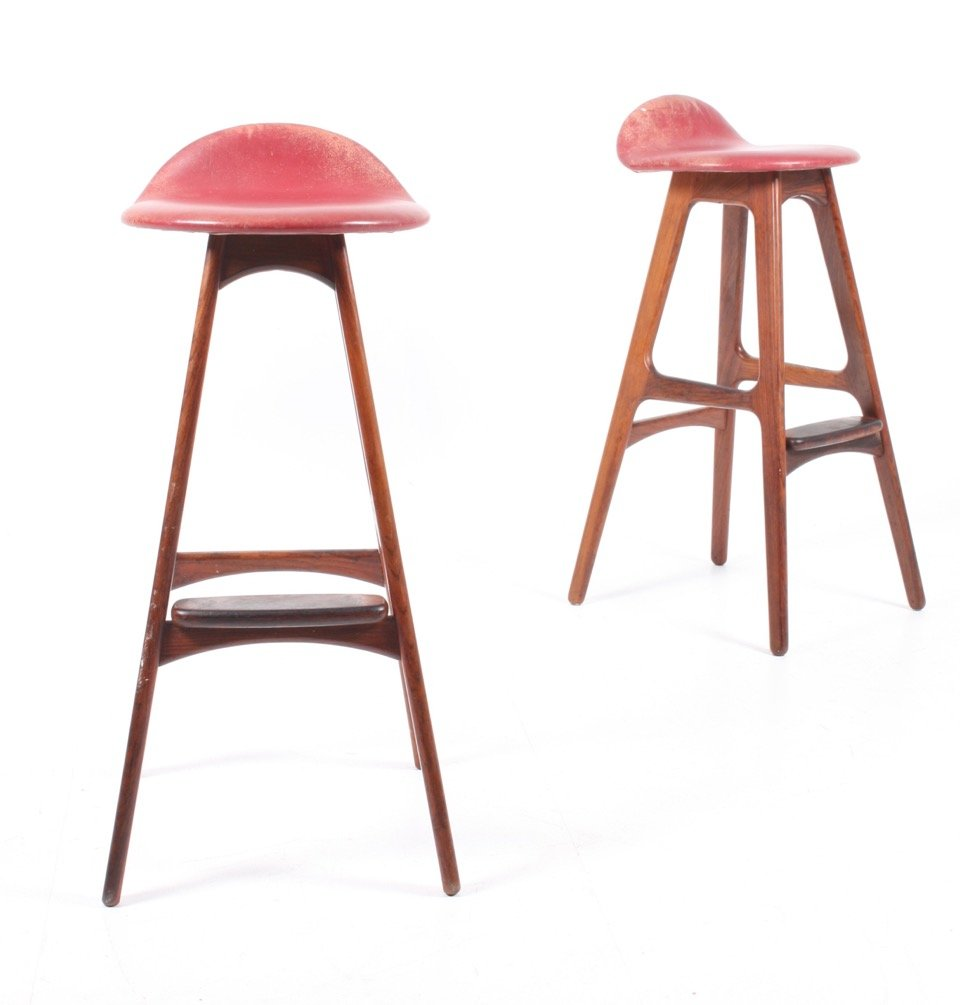 Vintage Rosewood Barstools by Erik Buch for Odense Møbelfabrik ...
