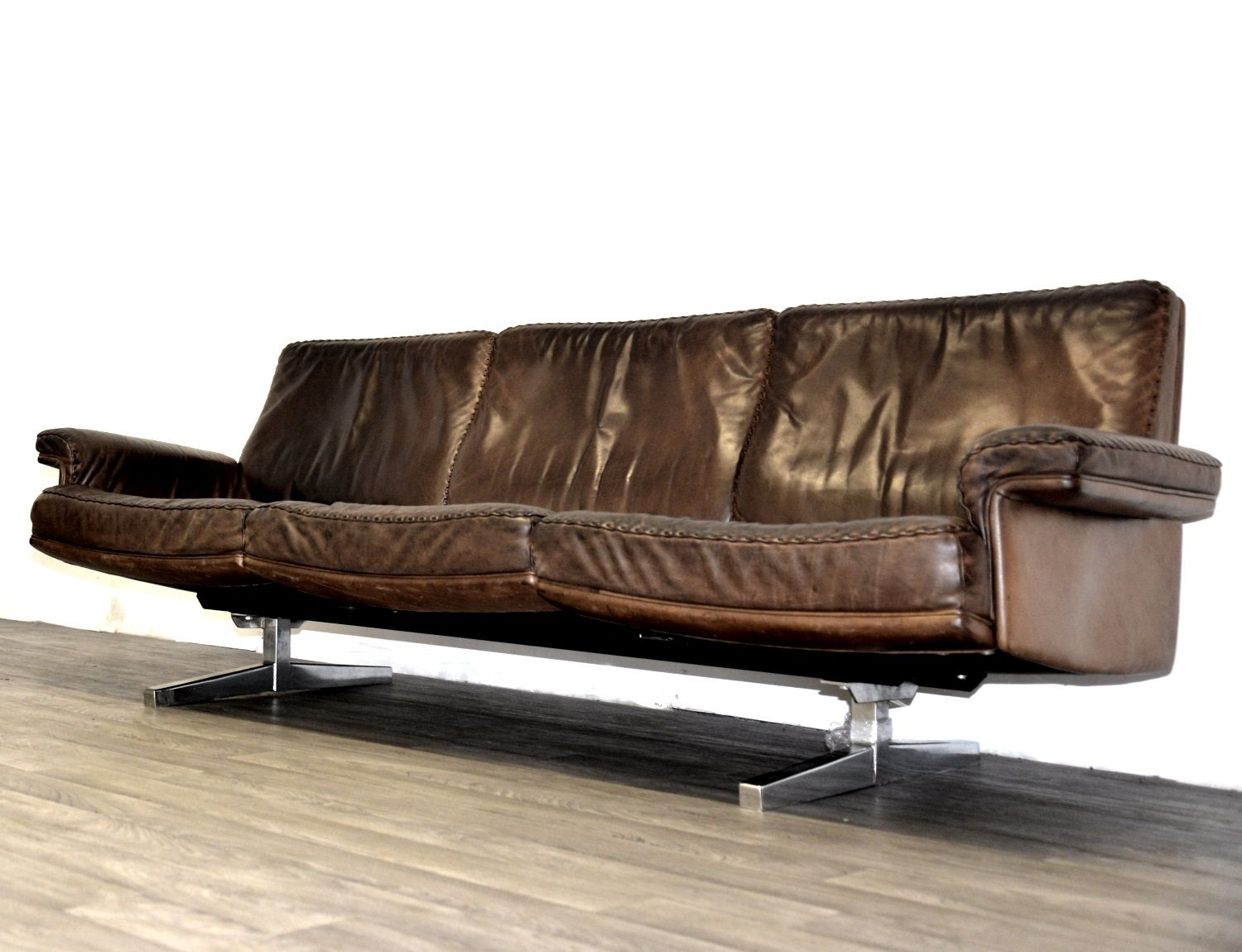 Vintage ds 35 3 seater leather sofa from de sede 1960s for Leather sofa 7 seater