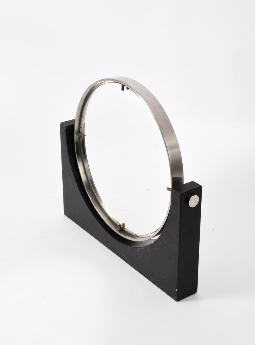 runder mid century tisch spiegel aus schwarzem marmor und. Black Bedroom Furniture Sets. Home Design Ideas