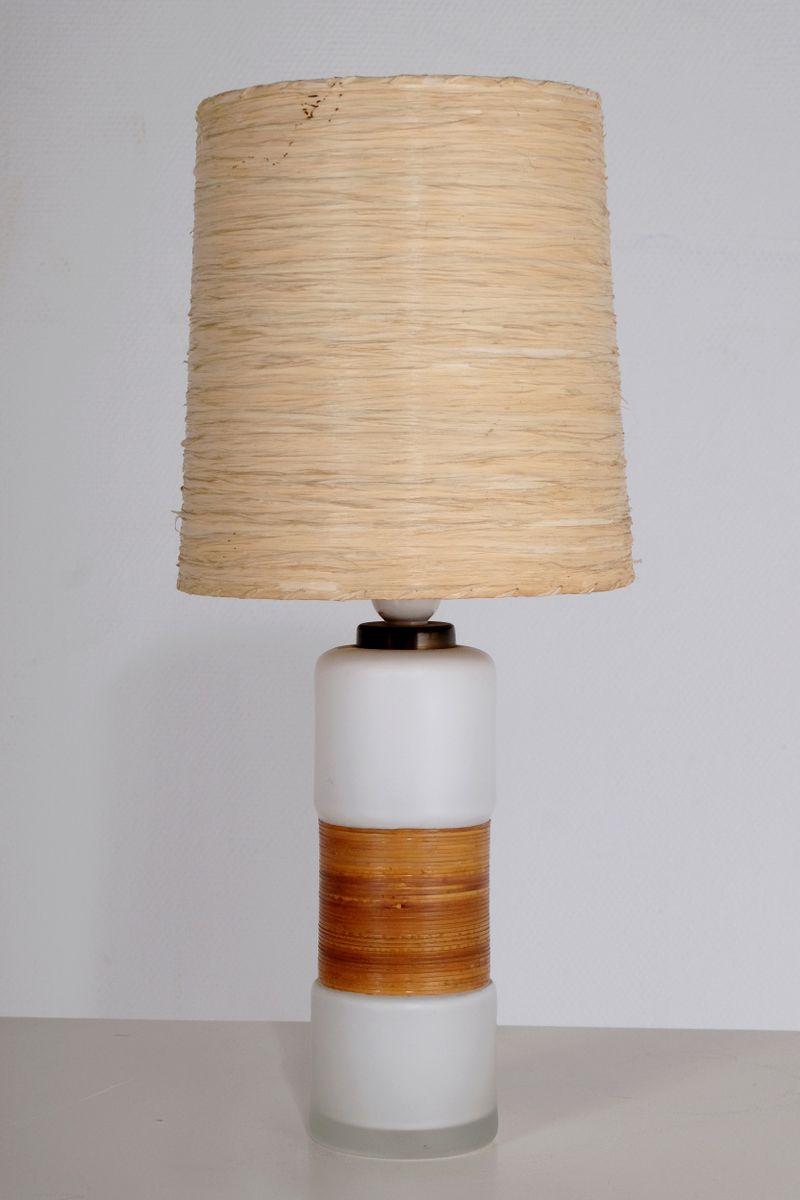 kleine finnische tischlampe aus wei em opalglas und stroh. Black Bedroom Furniture Sets. Home Design Ideas