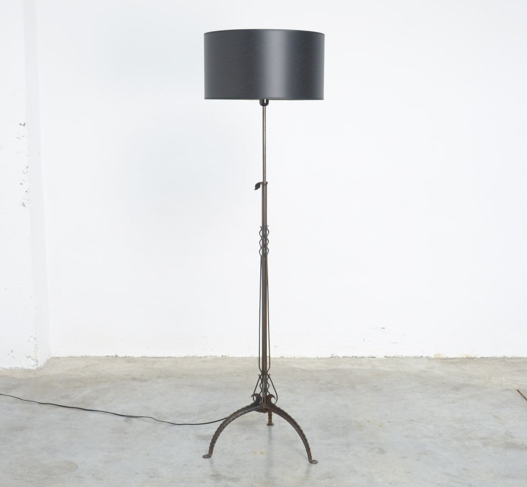 Antique black wrought iron floor lamp for sale at pamono antique black wrought iron floor lamp mozeypictures Images