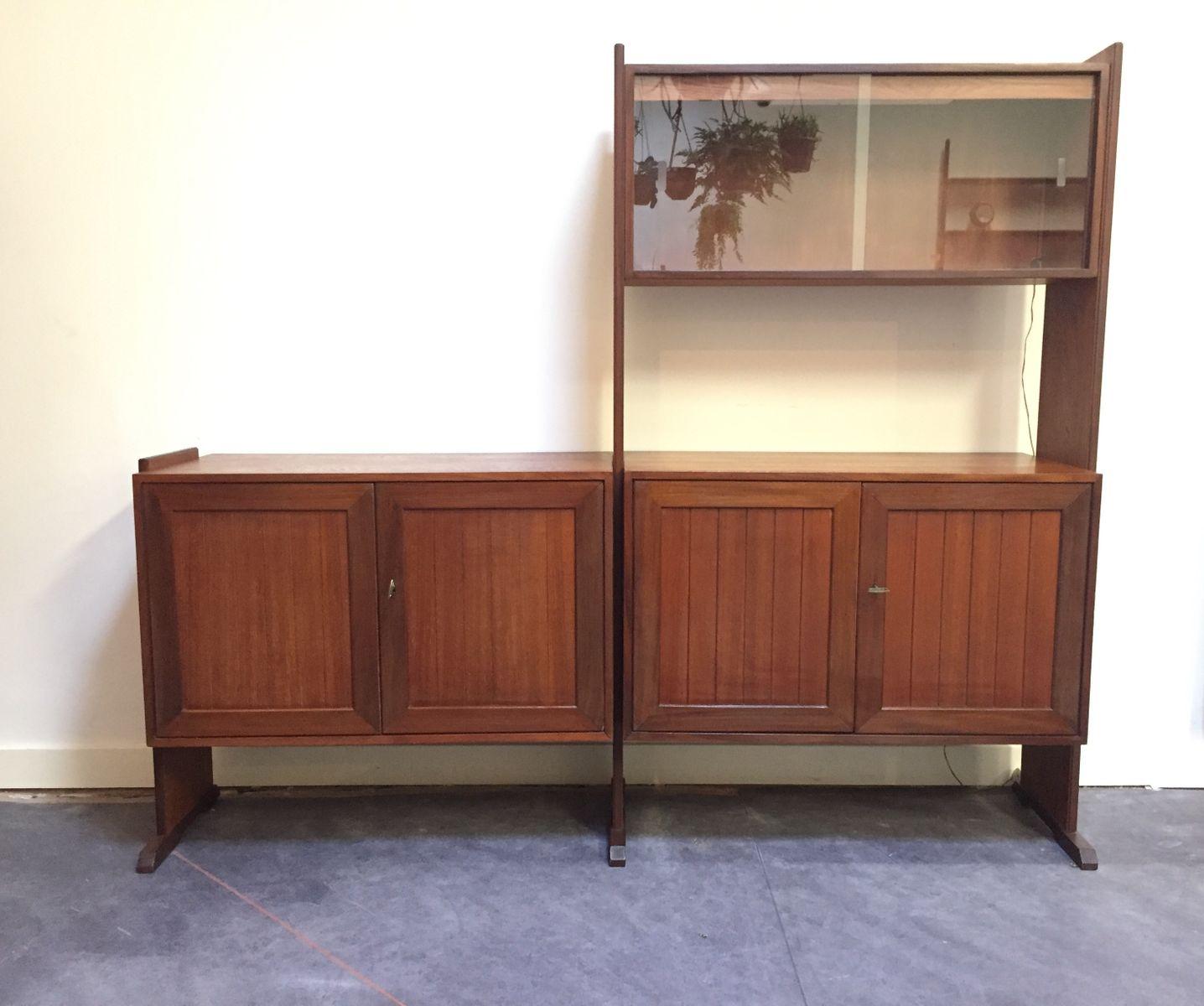 vintage schrank mit vitrine 1960er bei pamono kaufen. Black Bedroom Furniture Sets. Home Design Ideas