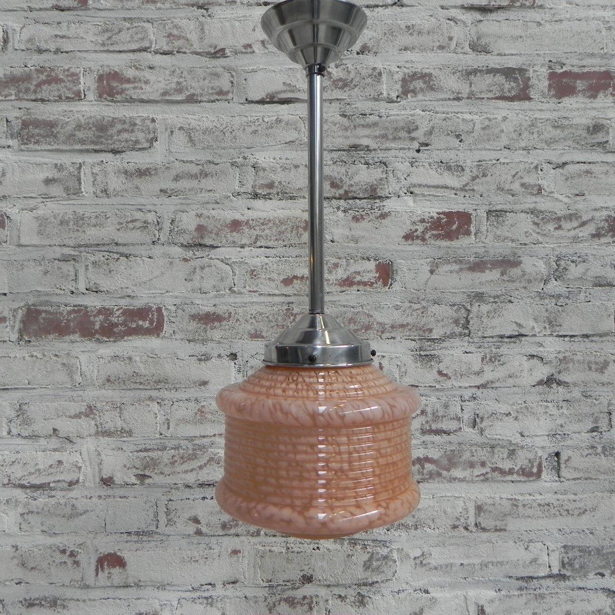 art d co h ngelampe mit schirm aus rosafarbenem glas bei. Black Bedroom Furniture Sets. Home Design Ideas