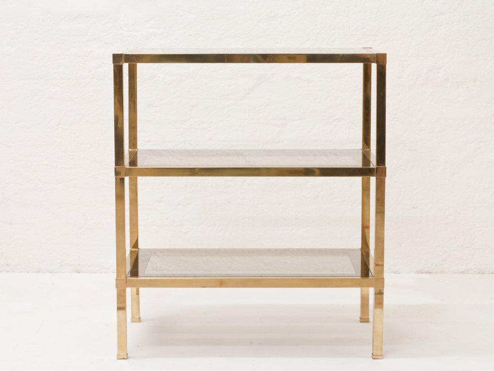 Italian Brass Shelf with Partially Mirrored Smoked Glass Shelves ...