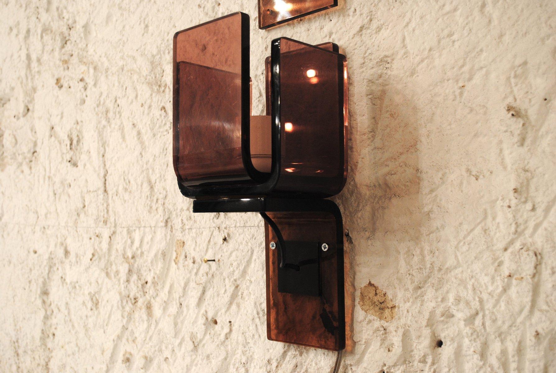 Bunte vintage plexiglas wandlampen 3er set bei pamono kaufen for Plexiglas beistelltisch 3er set