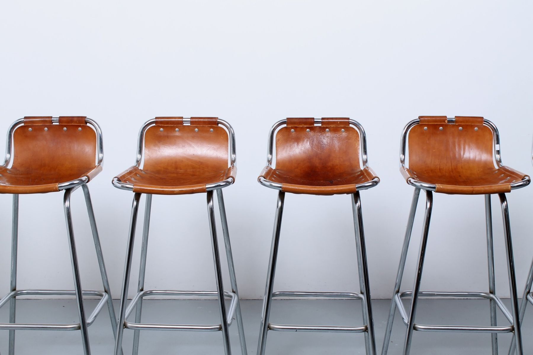 Leather Bar Stools By Charlotte Perriand 1960s Set Of 6