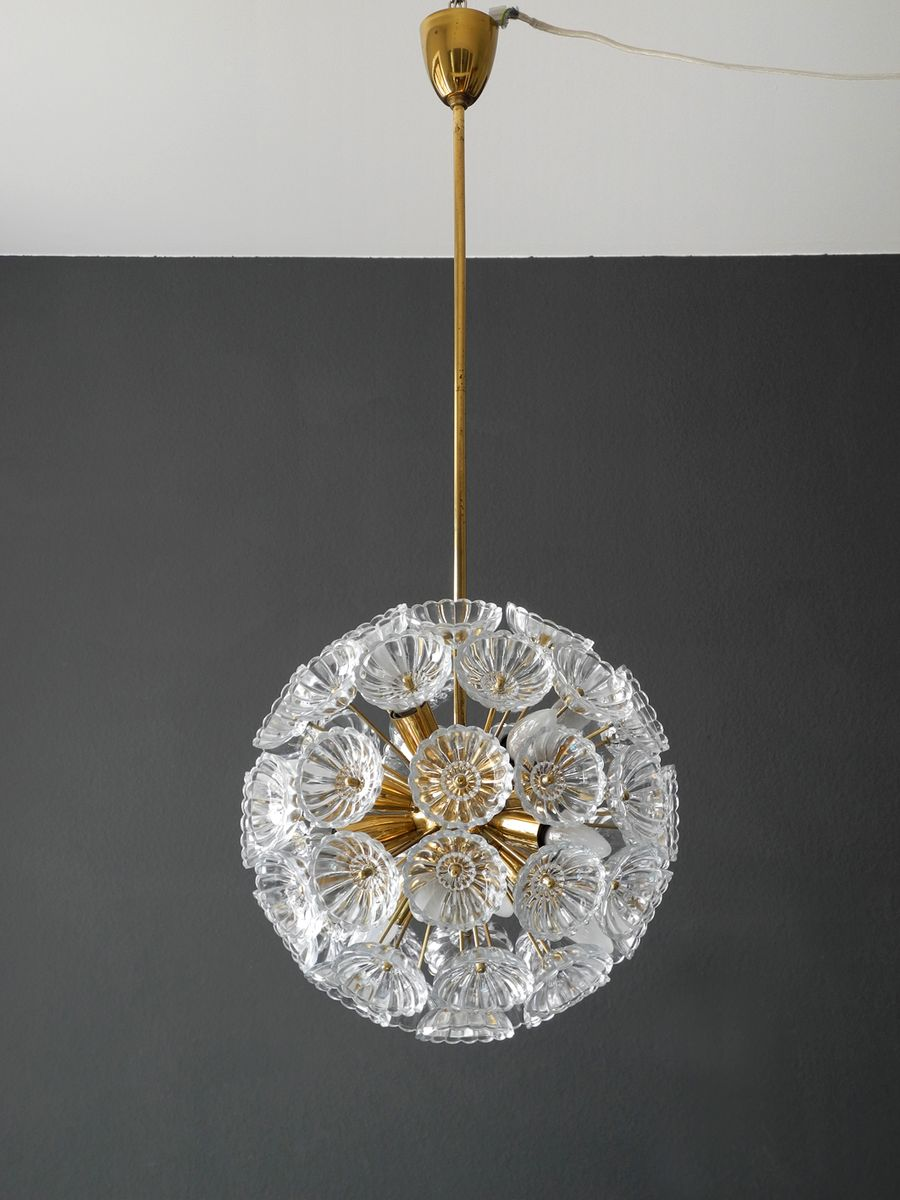 Sputnik Brass U0026 Glass Flower Ceiling Lamp, 1960s For Sale At Pamono
